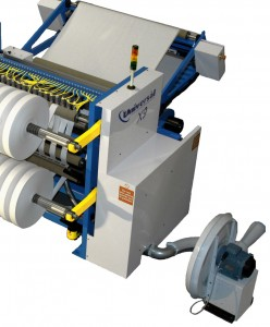 Trim blower fitted to slitter rewinder