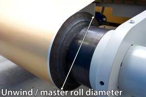 Entspannen Durchmesser auf einem Rollenschneider